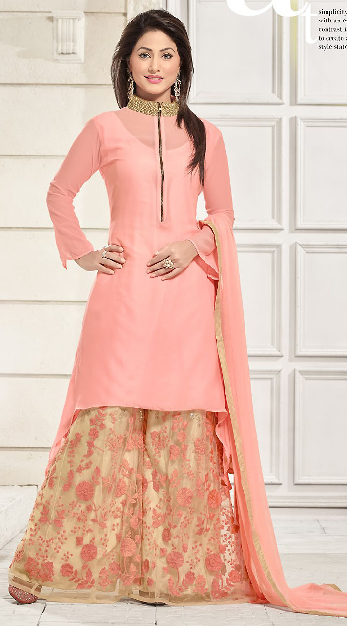 Pant Style Kameez Pretty Light Pink Georgette T V Actress Akshara Suit