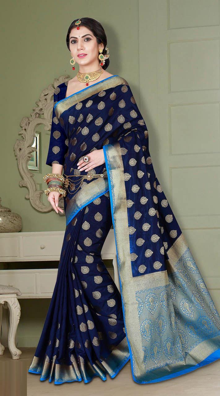 985055711c Beautiful Designer Look Banarasi Silk Saree with Blouse MV2380765