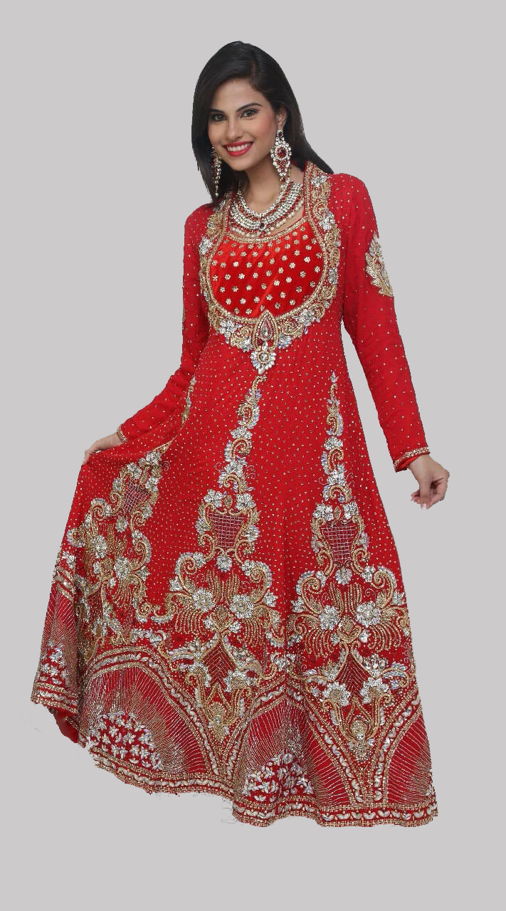 0bc5abc72eb Hand Work Red Anarkali Suit DT0365