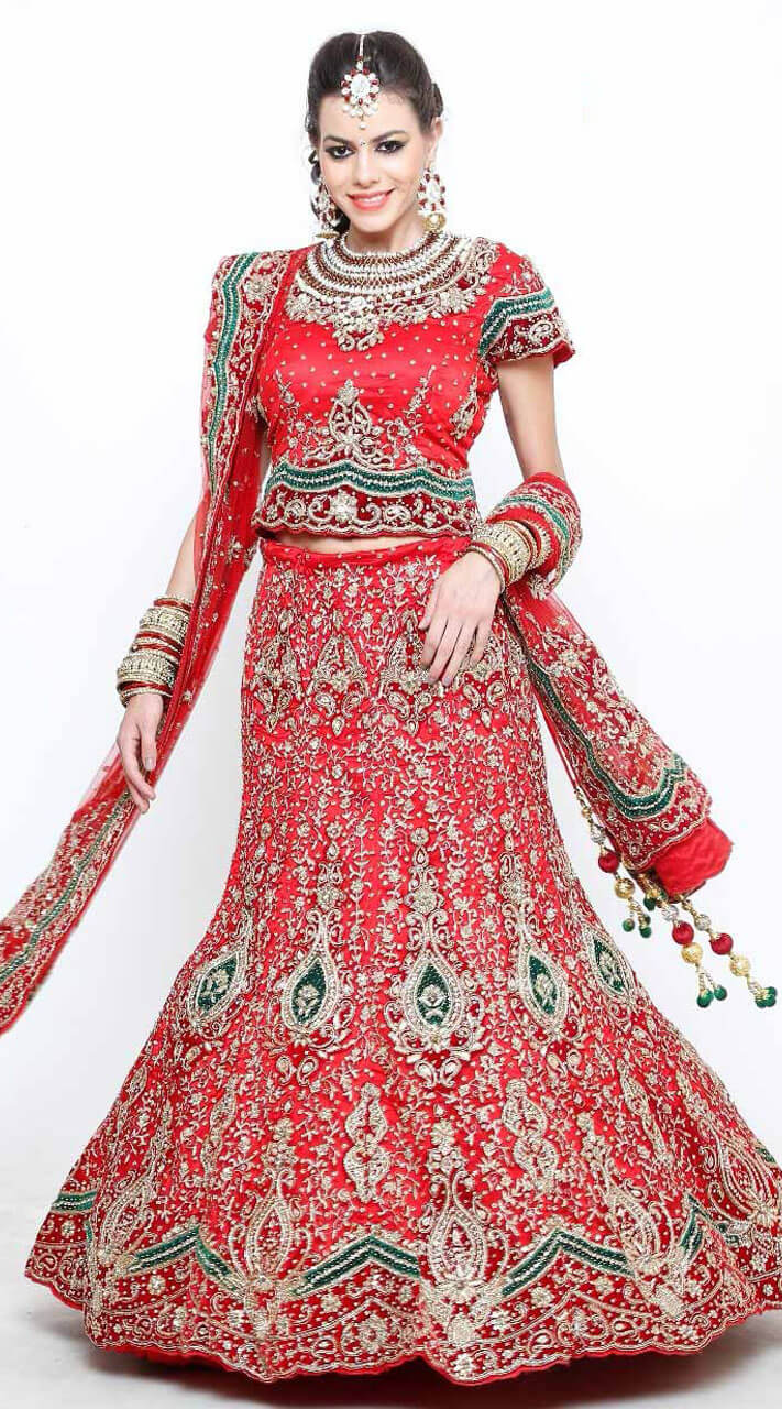 b7ccfa8937 Red and Green Lehenga Choli For Engagement Wear DT1065