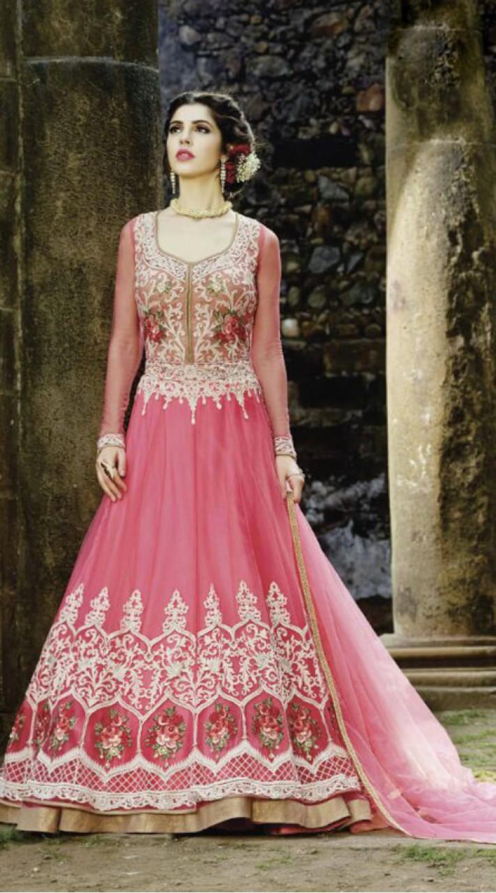 Pink Long Designer Anarkali Suit For Evening Party EK160588