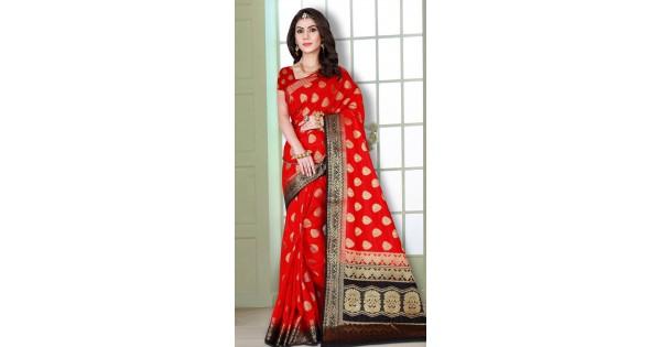 9f2f4dbbce Party Wear Red Banarasi Heavy Zari Work Saree MV2380465