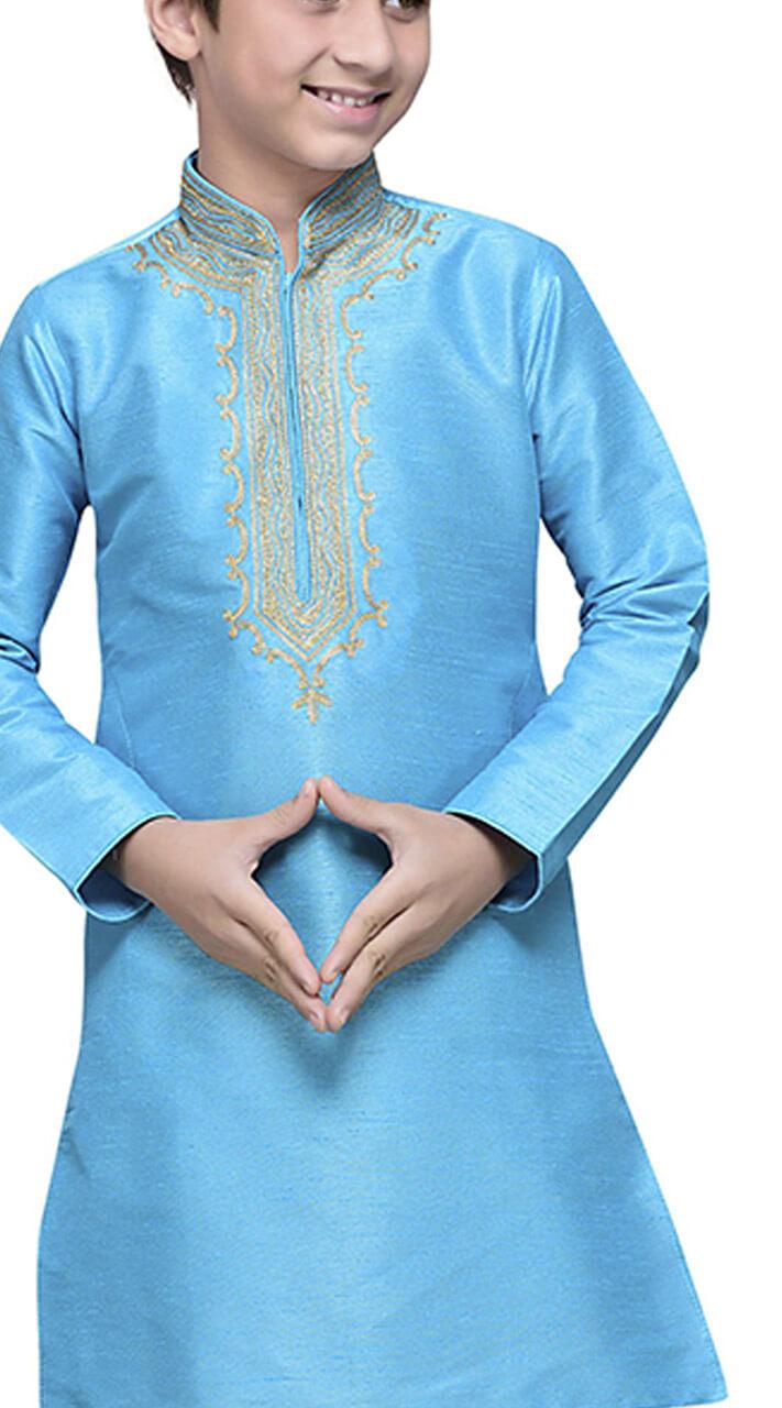 5f1cecd51a Turquoise Art Silk Kid Boy Kurta Pajama TK7217941