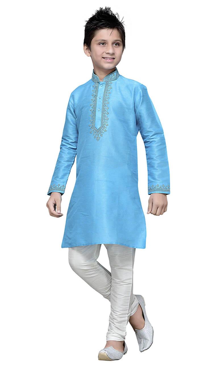 8f3ab8737f Turquoise Art Silk Kid Boy Kurta Pajama TK7218141
