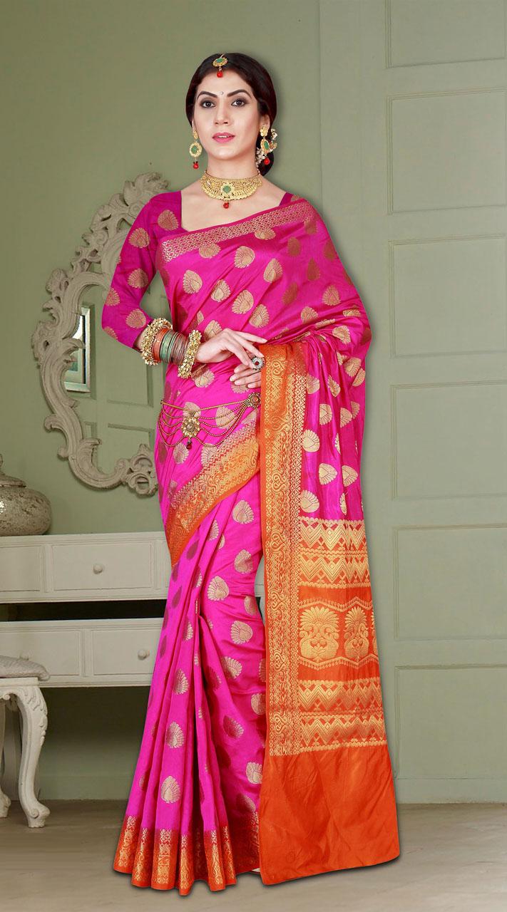 3ec60c7d6570e Wedding Wear Pink and Orange Banarasi Silk Saree MV2380565