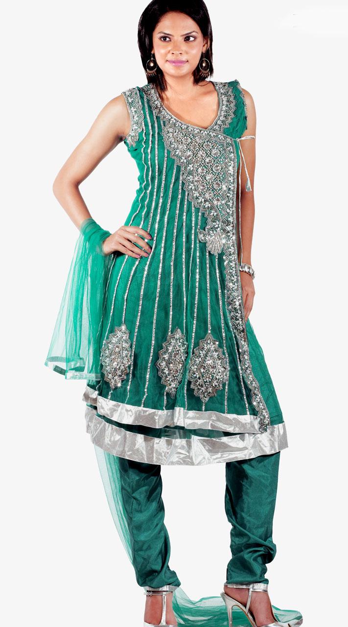 7e319d5aef DT131007 Stunning Teal Net Churidar Salwar Kameez
