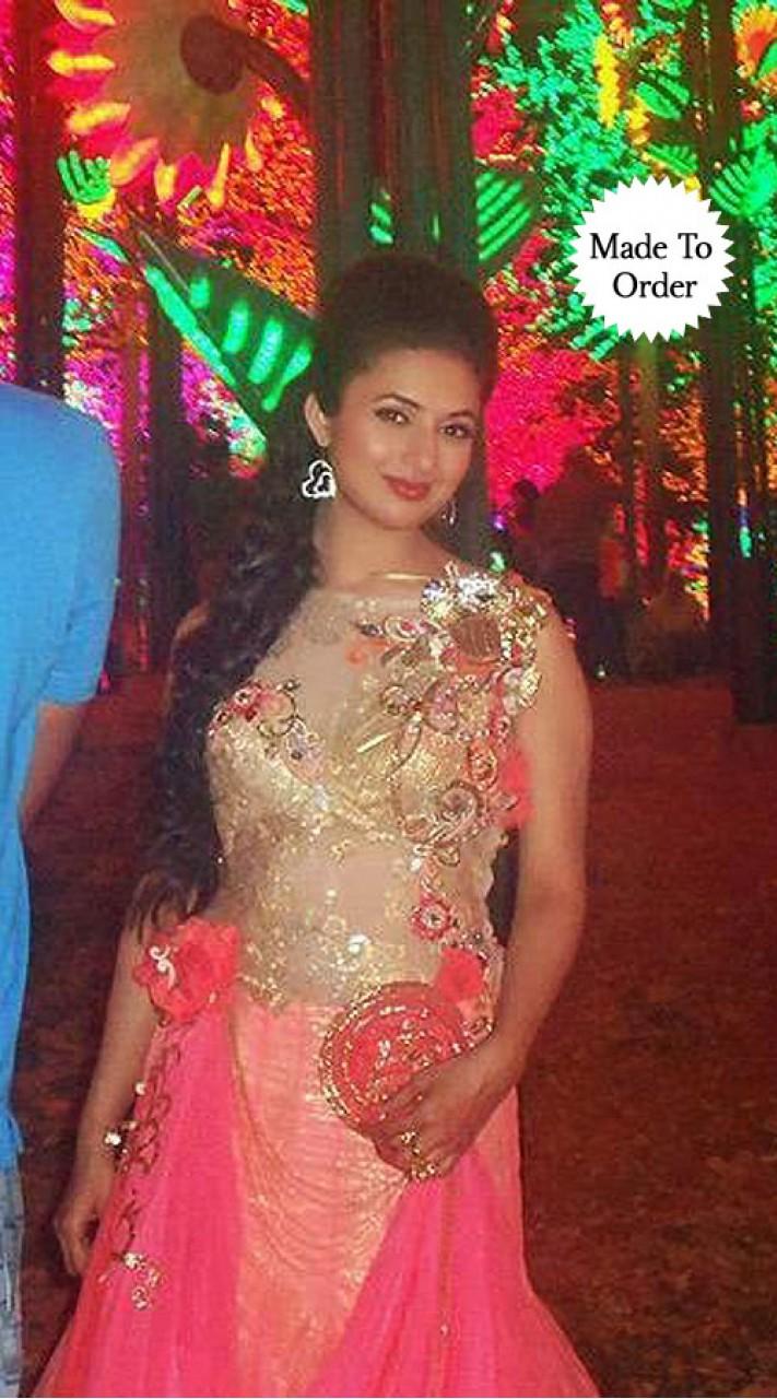 7a59f80ba3 ... Fashionable Pink Net Divyanka Tripathi Designer Wedding Replica Gown  BP2408 ...
