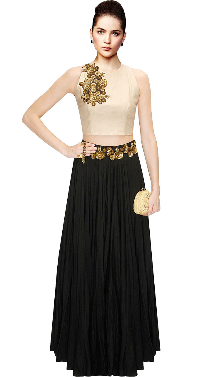72d64e9e7f On Sale Amazing Floral Work Black Silk Crop Top Lehenga SUUDL10215