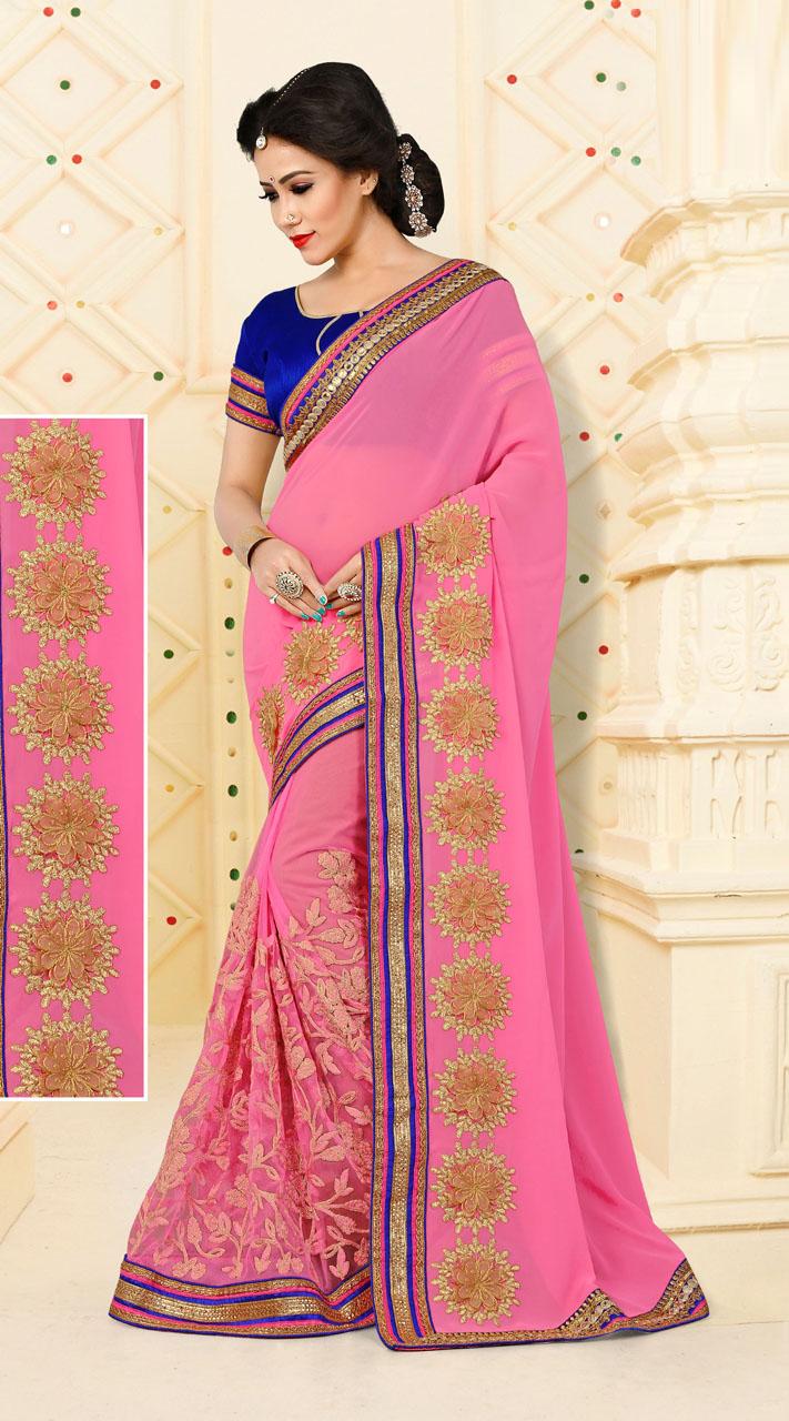 5cfce156b2e3ba Amusing Floral Work Light Pink Saree With Contrast Blue Blouse VB11106D29