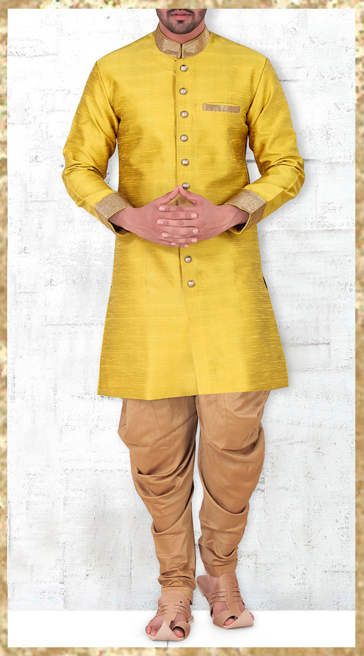 1aaeaf3300 Banarasi Silk Mustard Yellow Designer Kurta Pajama For Men 2MV1994721