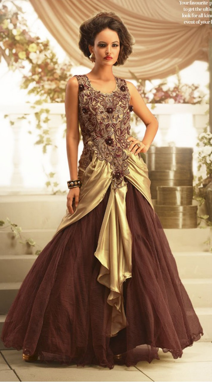 104ac4d403f40 Beautiful Embroidered Brown Faux Georgette Designer Indowestern Gown  BR105291