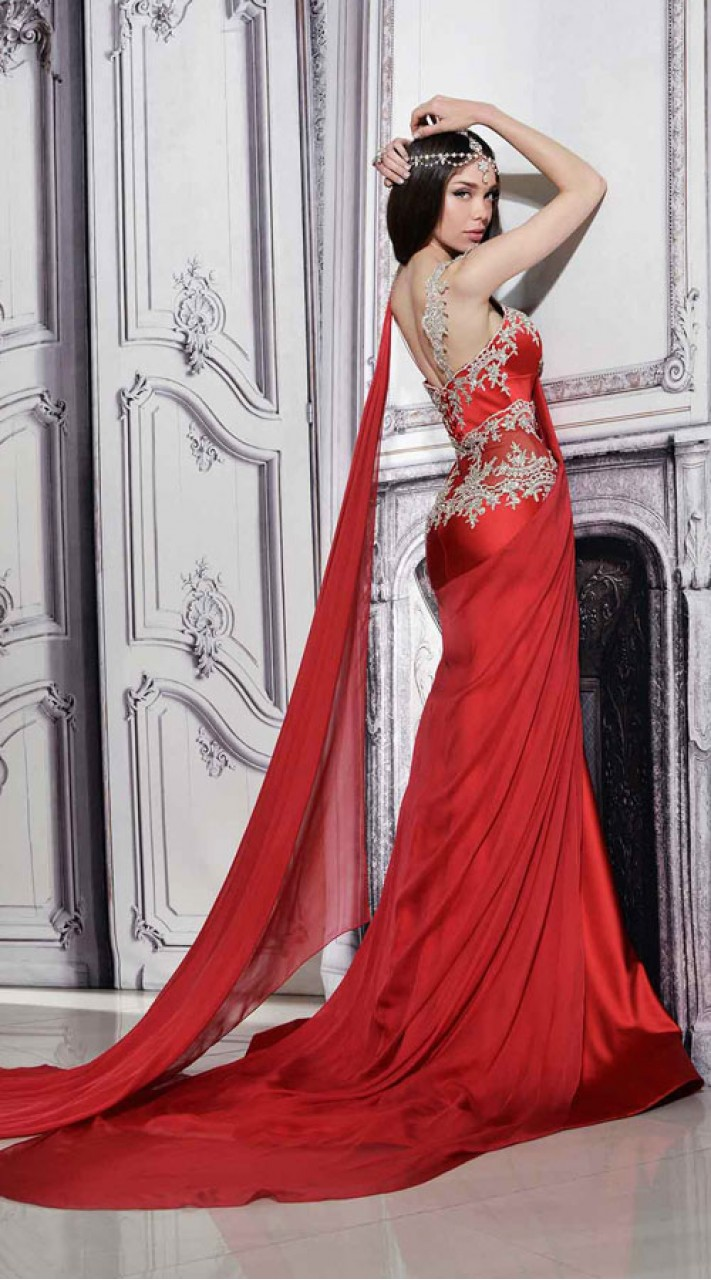 Beautiful Hand Work Red Designer Saree Gown BP1446