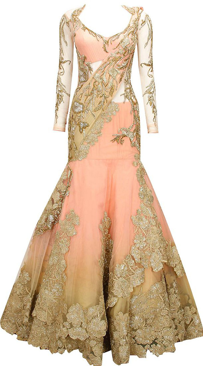 Peach Net Embroidered Designer Saree Style Gown BP2504