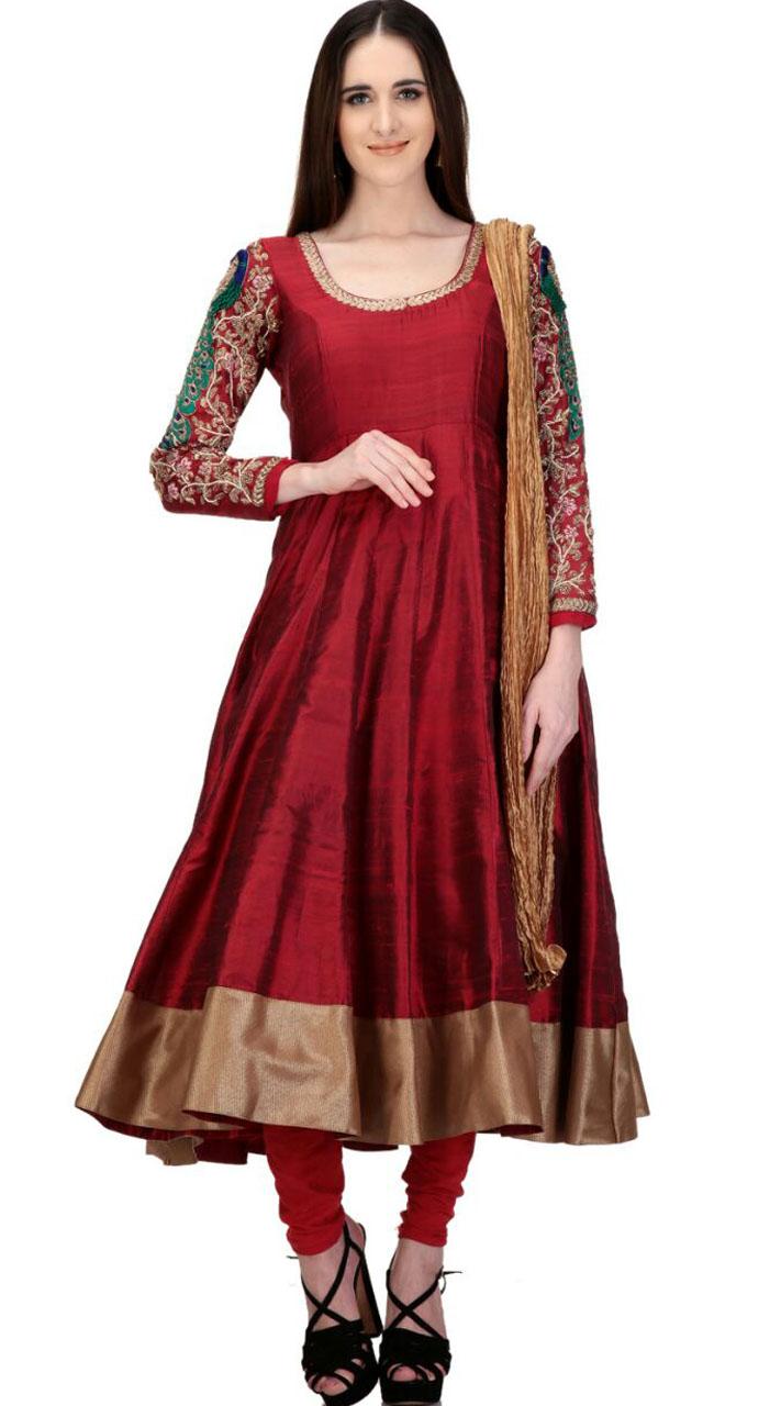 c7a1ff82c7 Beautiful Peacock Work Sleeves Maroon Raw Silk Designer Anarkali Suit  SMC2402