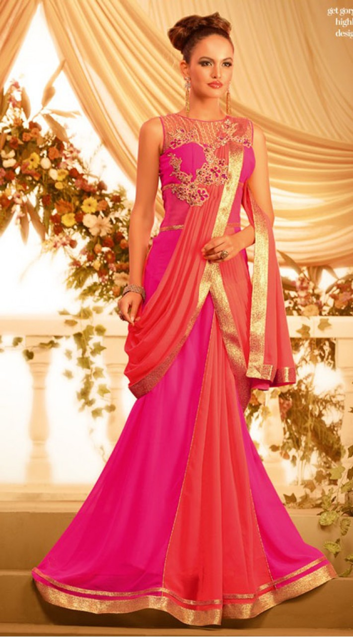 51c9e69610c39 Beautiful Pink Georgette Designer Indowestern Saree Style Gown BR105891