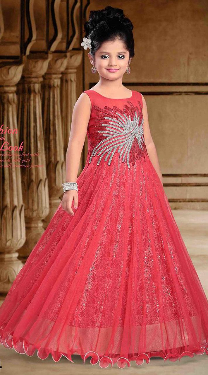 Salmon Net Designer Readymade Kids Gown DT301441
