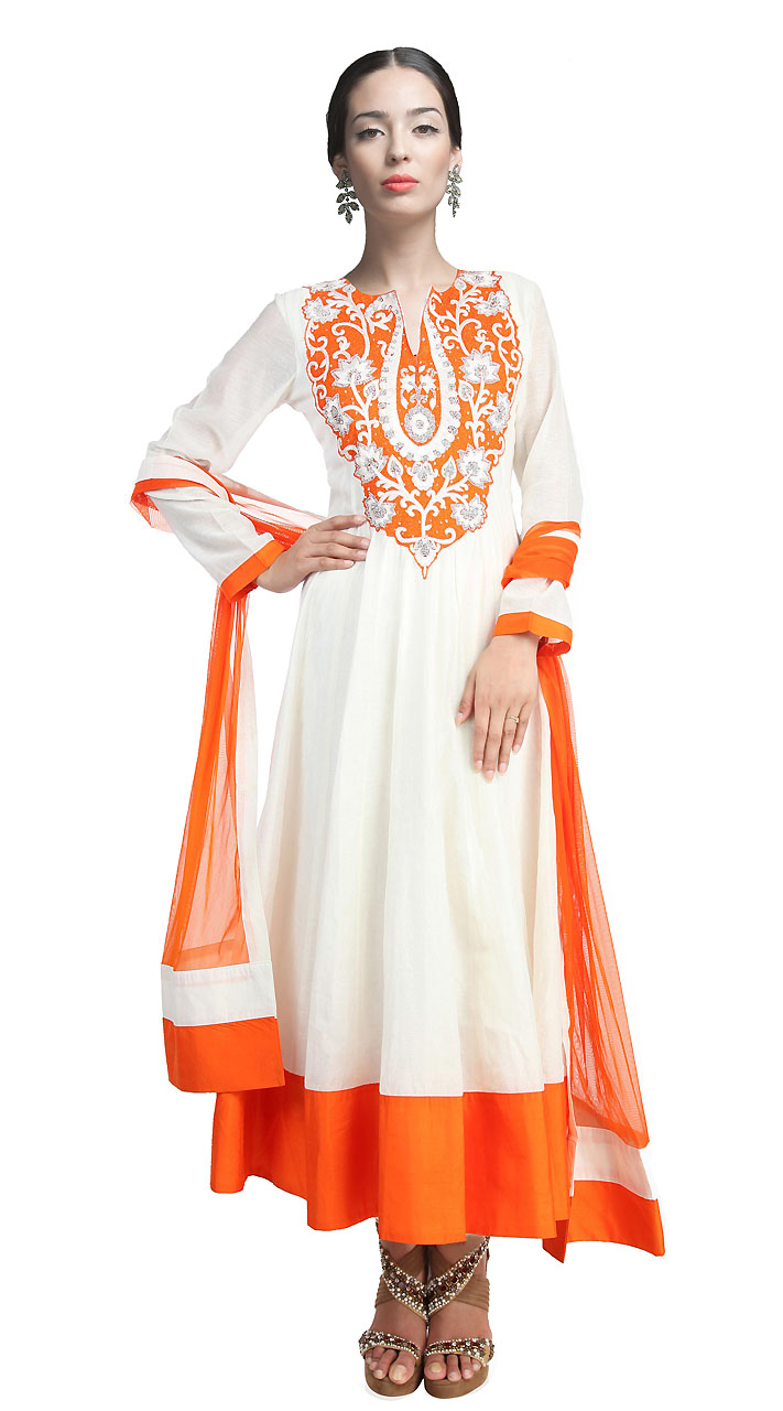 a847e16826 On Sale Beautiful White Chanderi Silk Ankle Length Anarkali Suit SUUDS17802