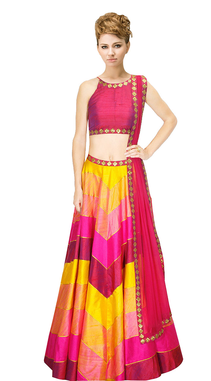 dd4fc081804197 On Sale Beguiling Pink And Yellow Silk Crop Top Lehenga With Dupatta  SUUDL9615