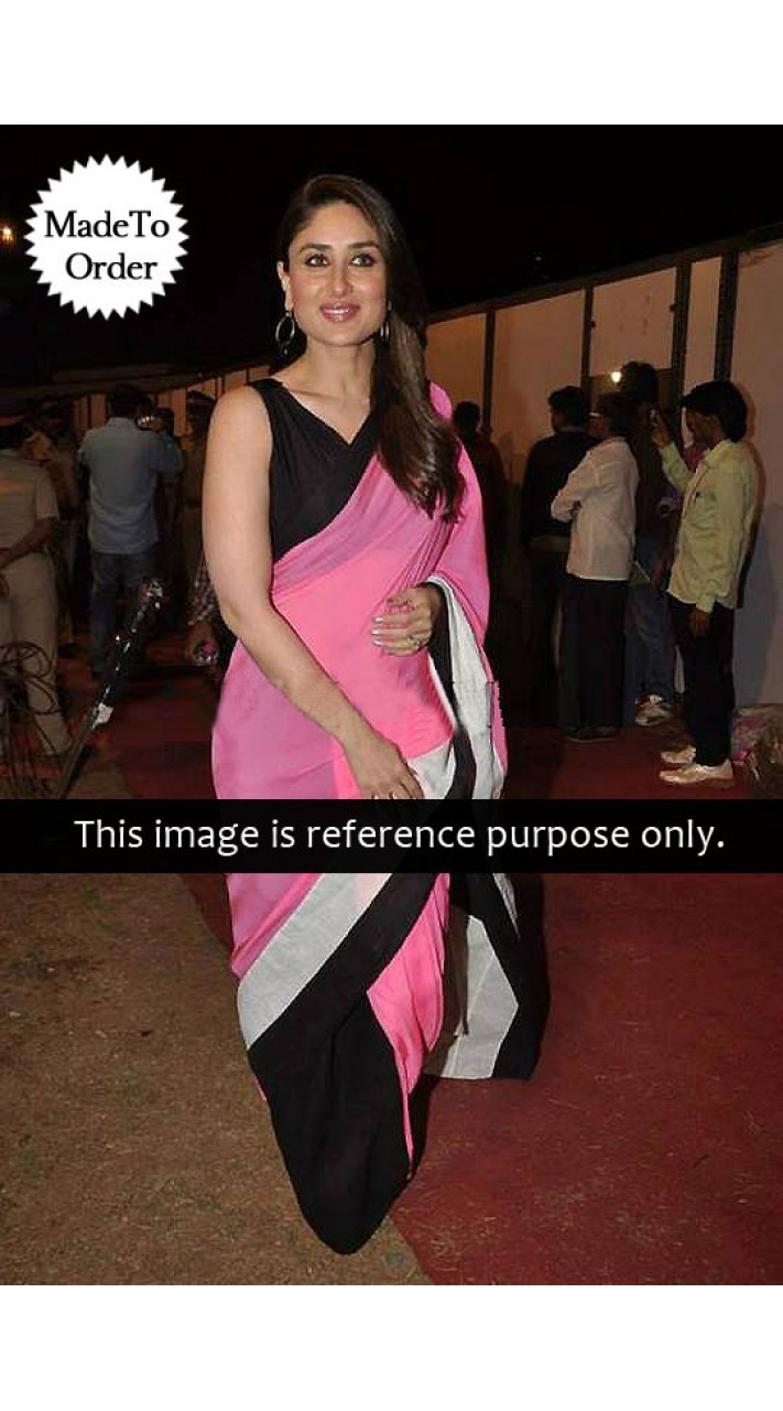 9fd31d7d5c Black And Pink Kareena Kapoor Replica Bollywood Designer Saree 030