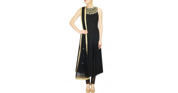 Black Designer Salwar Kameez With Back Zip THS104212