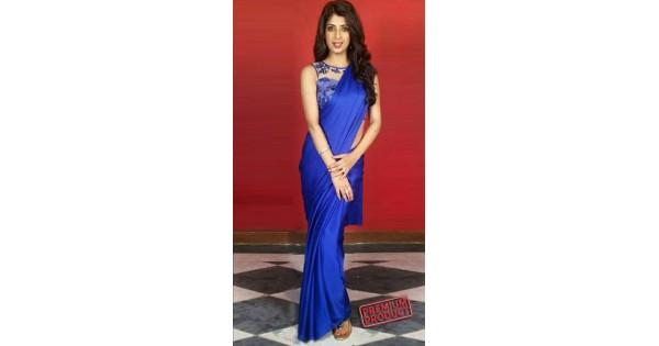 b082890d9b Blue Crepe Plain Saree For Bridesmaids BP0535