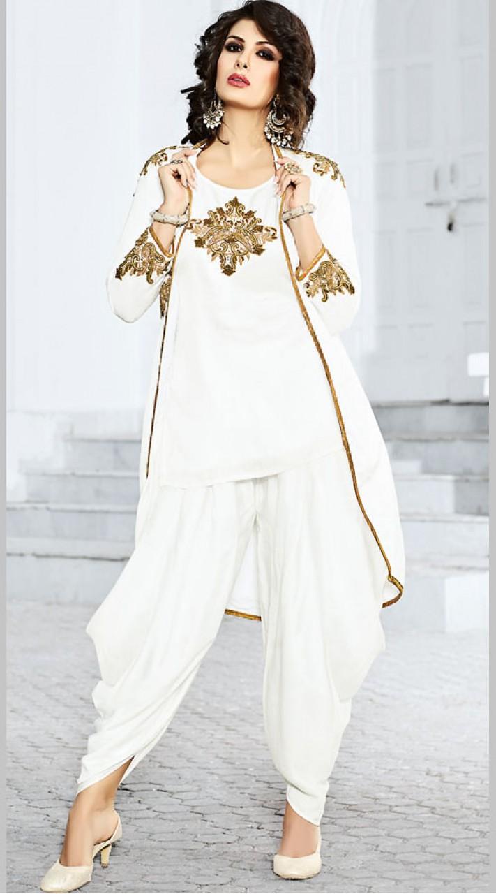c6e366e67a White Satin Jacket Style Short Kameez With Dhoti Salwar BP901131