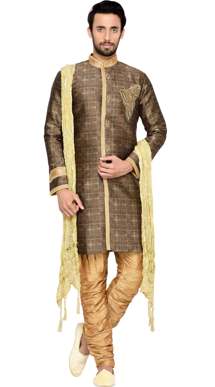 5f6741141082 Brocade Brown Men Indo Western Sherwani GR144109