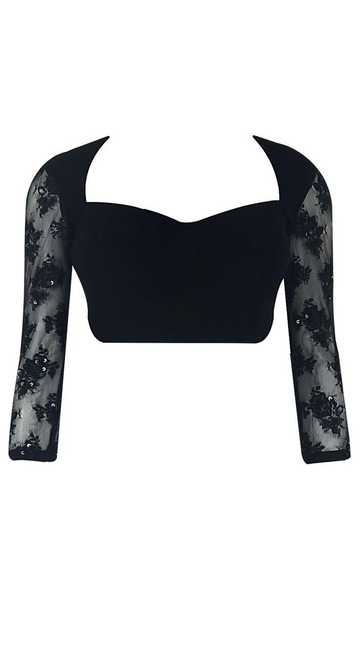 Classy Black Velvet Designer Blouse For Saree Bp0109