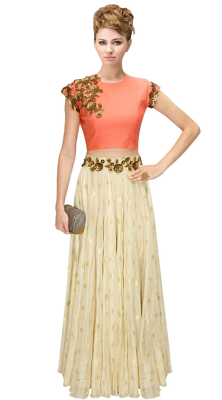 8ea15d01cb2 On Sale Contemporary Off White Silk Floral Work Crop Top Lehenga SUUDL10115