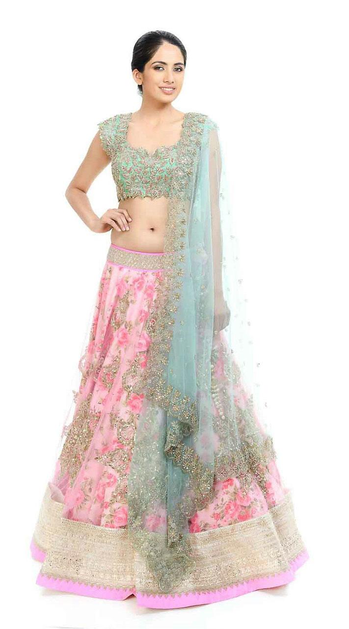 16c8c01fb Floral Rose Print Pink Net Lehenga Choli BP3020