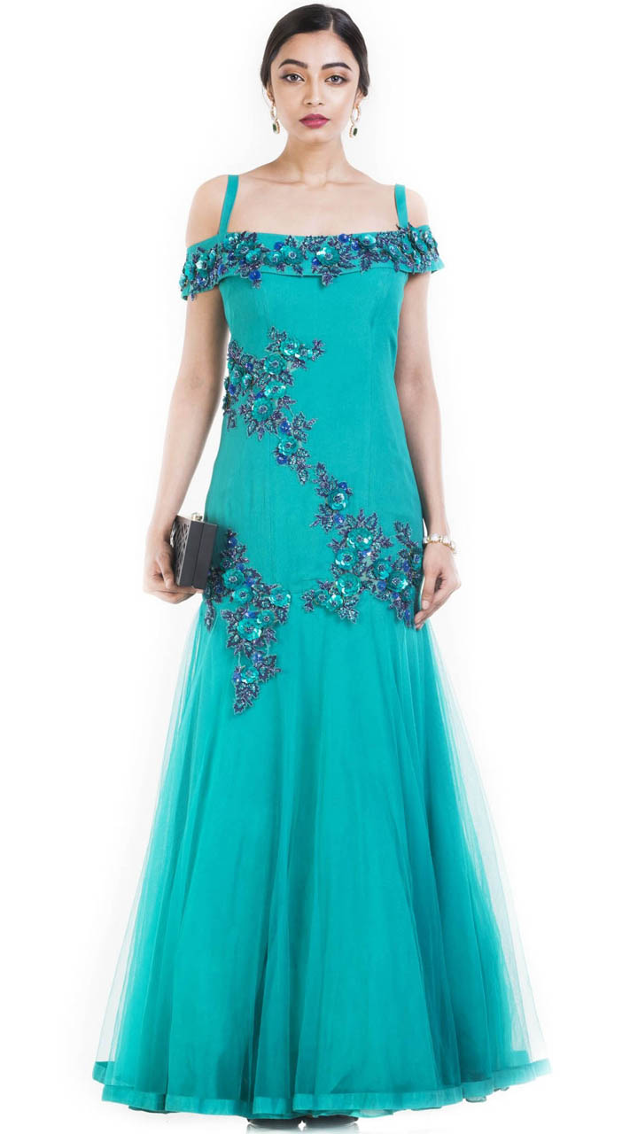 Designer Frozen Net Off Shoulder Gown Suit SUUDS51930