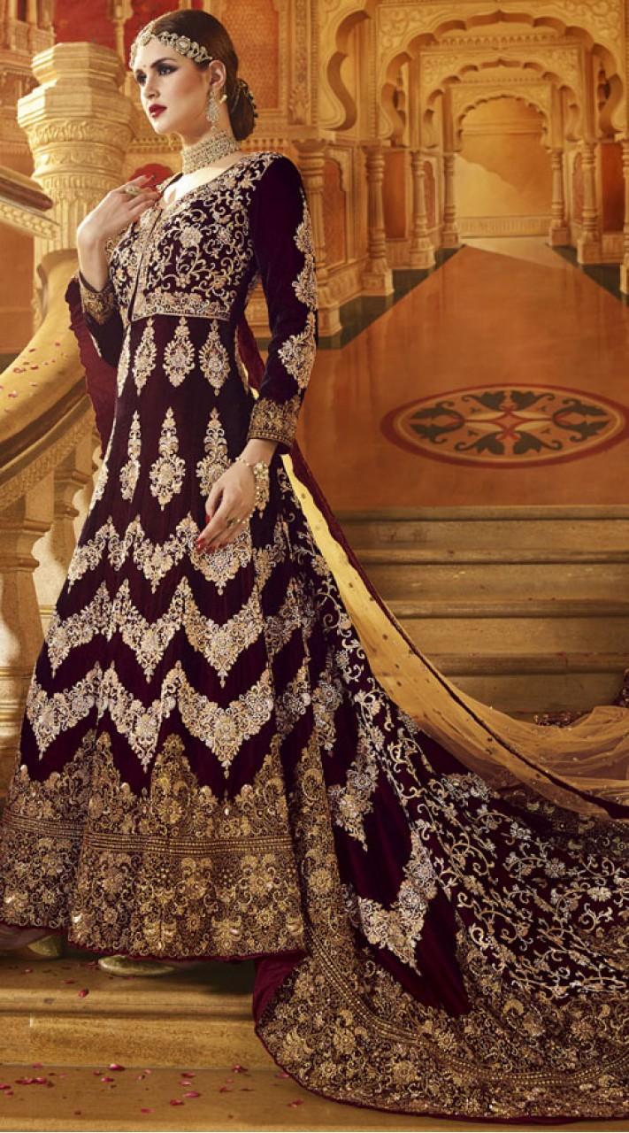 Designer Wine Velvet And Net Indian Bridal Gown 2WV551414