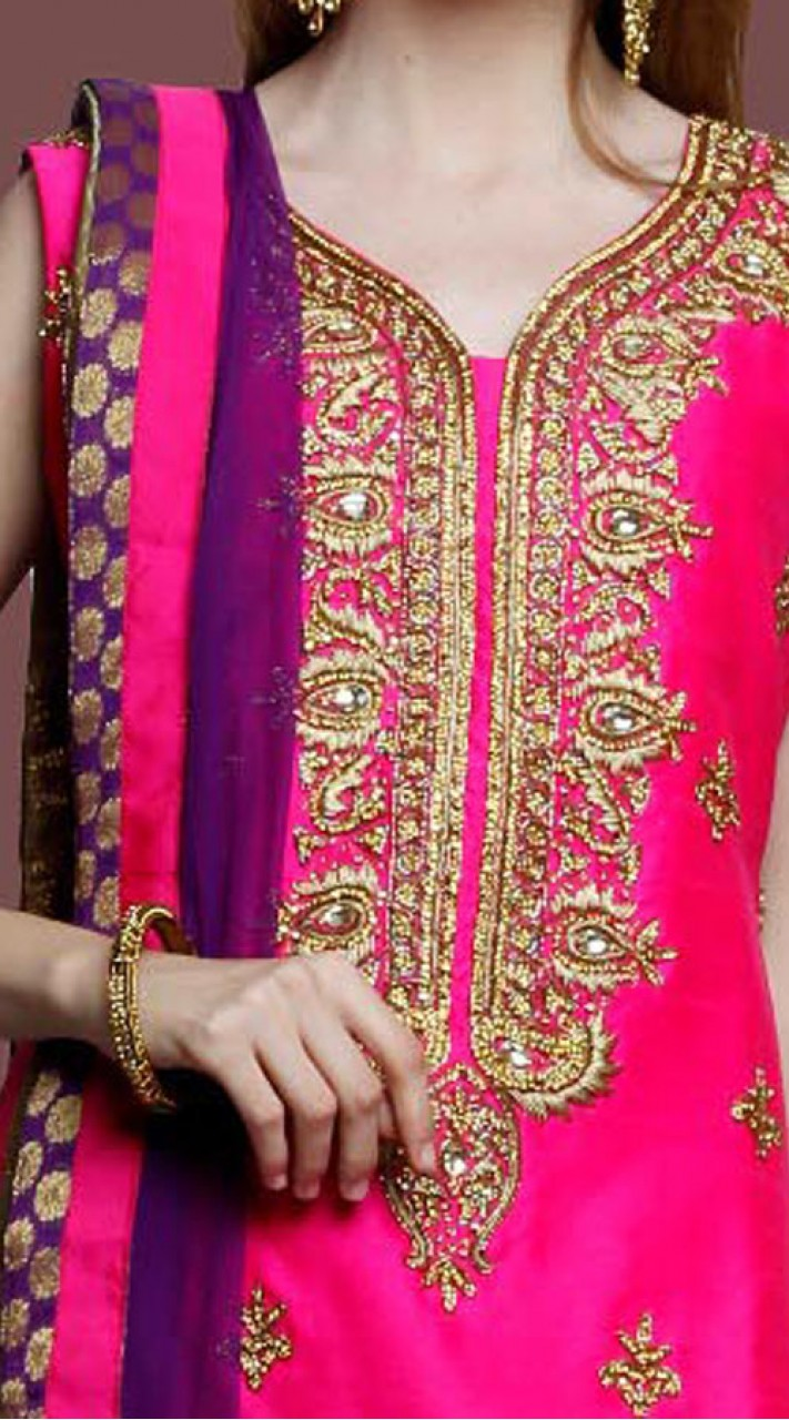 048d8ce8ed ... Party Wear Pink Silk Sharara Suit With Matching Dupatta DT10661 ...