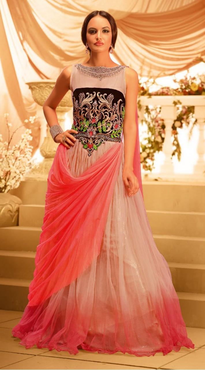 PeacHand Salmon Net Designer Long Gown BR105991