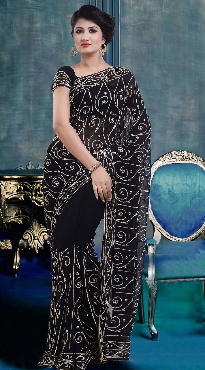 622404a8bc22b6 Embroidered Black Georgette Hand Work Saree With Blouse ZP4104