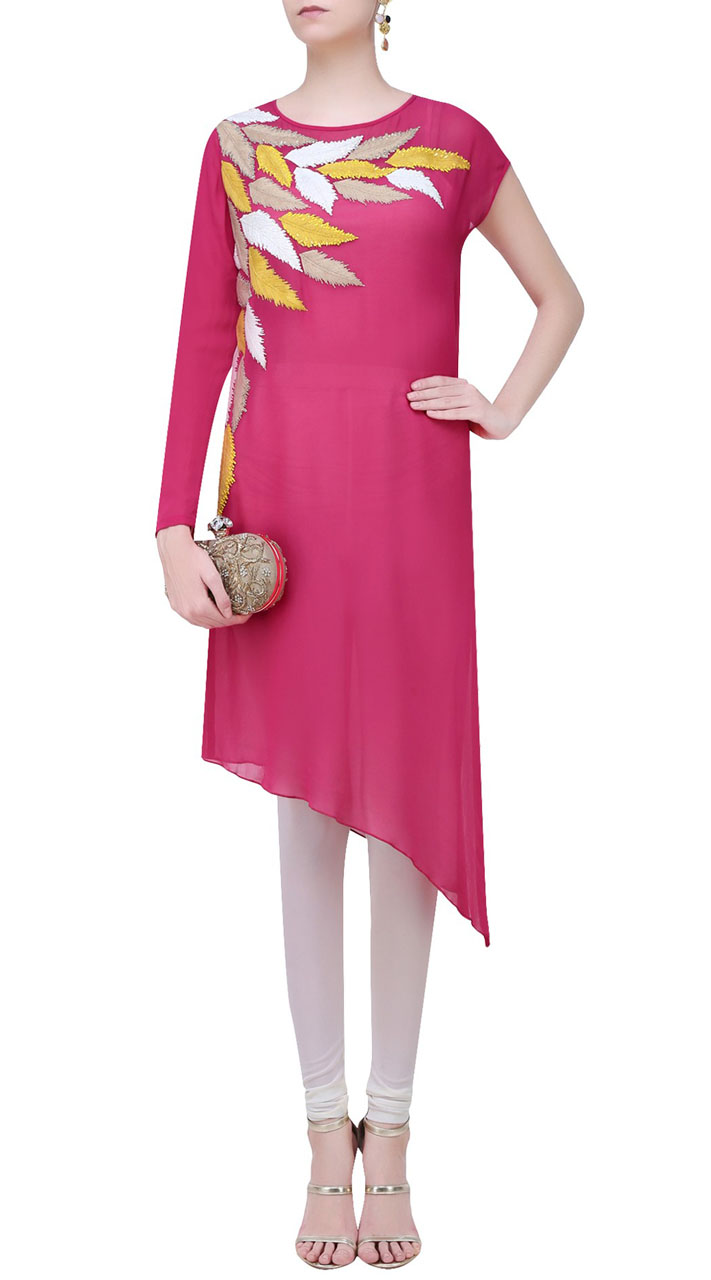 Embroidery Work Dark Pink Side Cut Kurti SUUDK18822