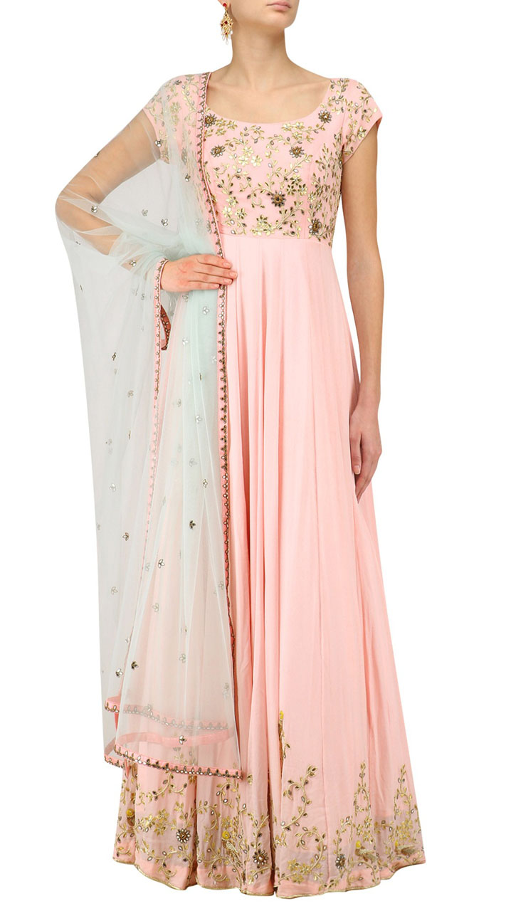 9deff420d Embroidery Work Light Pink Floor Length Anarkali Suit SUMS36124