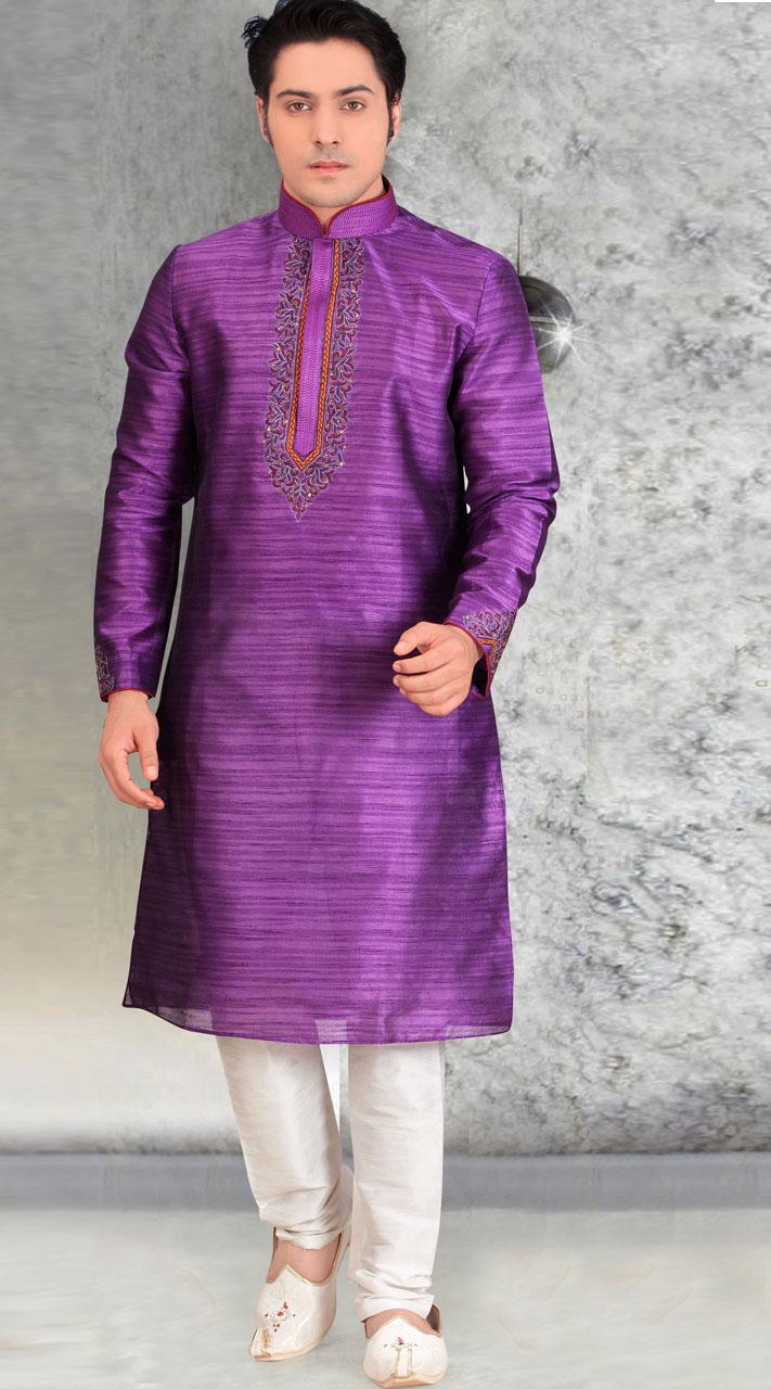 Embroidery Work Purple Silk Men Kurta Pajama BN2553511