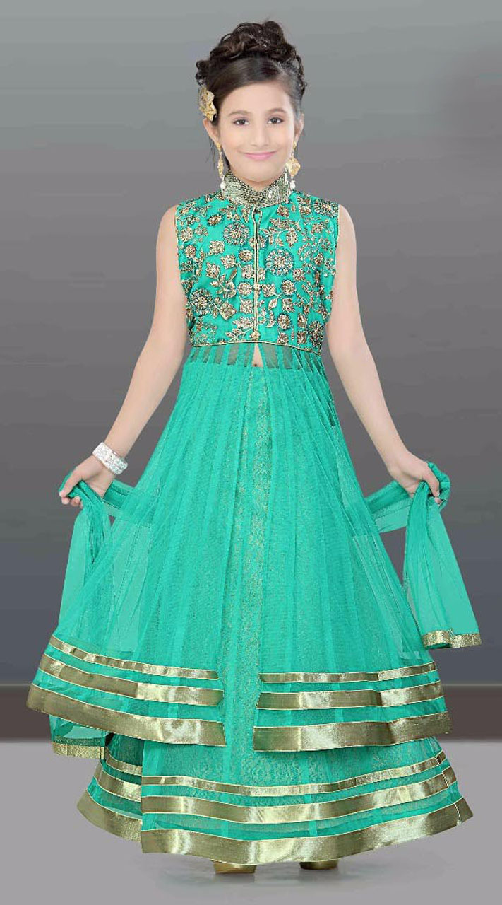 Trendy Turquoise Kids Girl Indowestern Style DTK2152