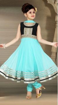 a86946374 Voguish Blue Net Readymade Kids Suit DT909429