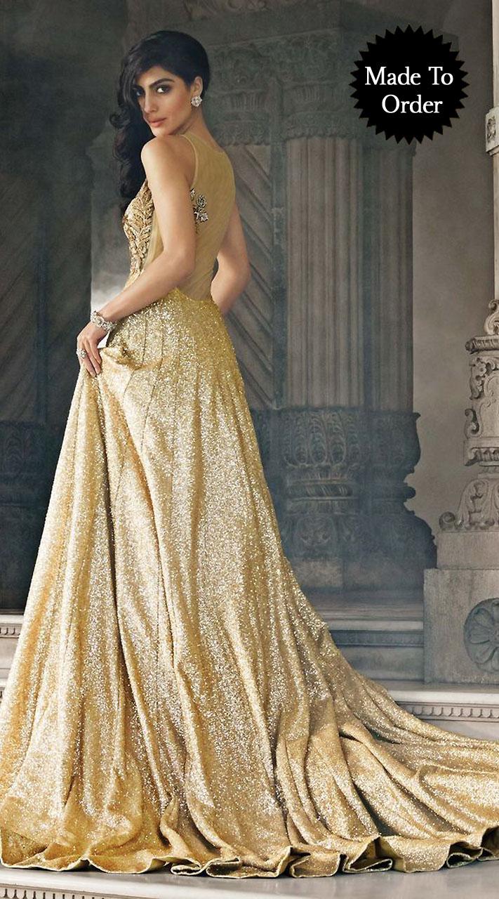 573aed504 Exclusive Golden Cream Premium Fabric Replica Designer Floor Length Gown  BP0803