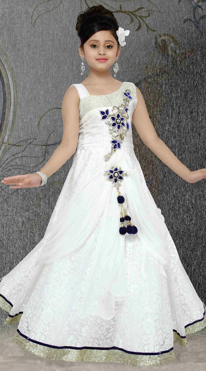 5a7626d3ad On Sale Exclusive Silver Border White Brasso Net Readymade Kids Gown  DT301541