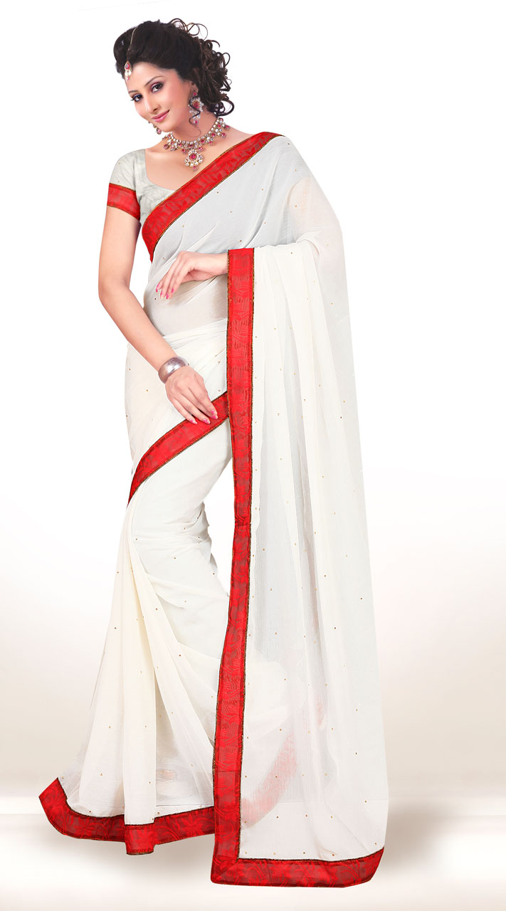 34dacfbec53880 Exclusive White Chiffon Light Work Saree With Red Border KCV3418007