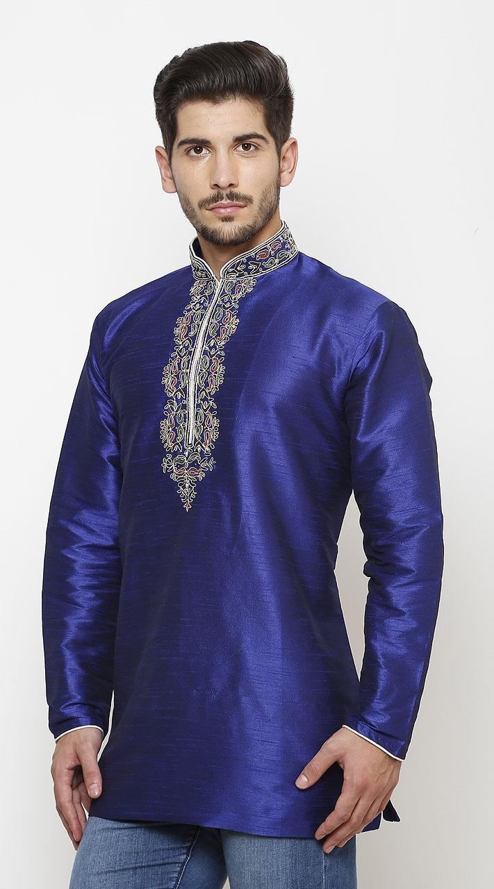 Royal Blue Silk Chinese Collar Men Short Kurta DTMK147