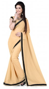 c56017e5063c17 Fabulous Dark Cream Georgette Bridesmaid Saree With Moti Work Border RJ39210