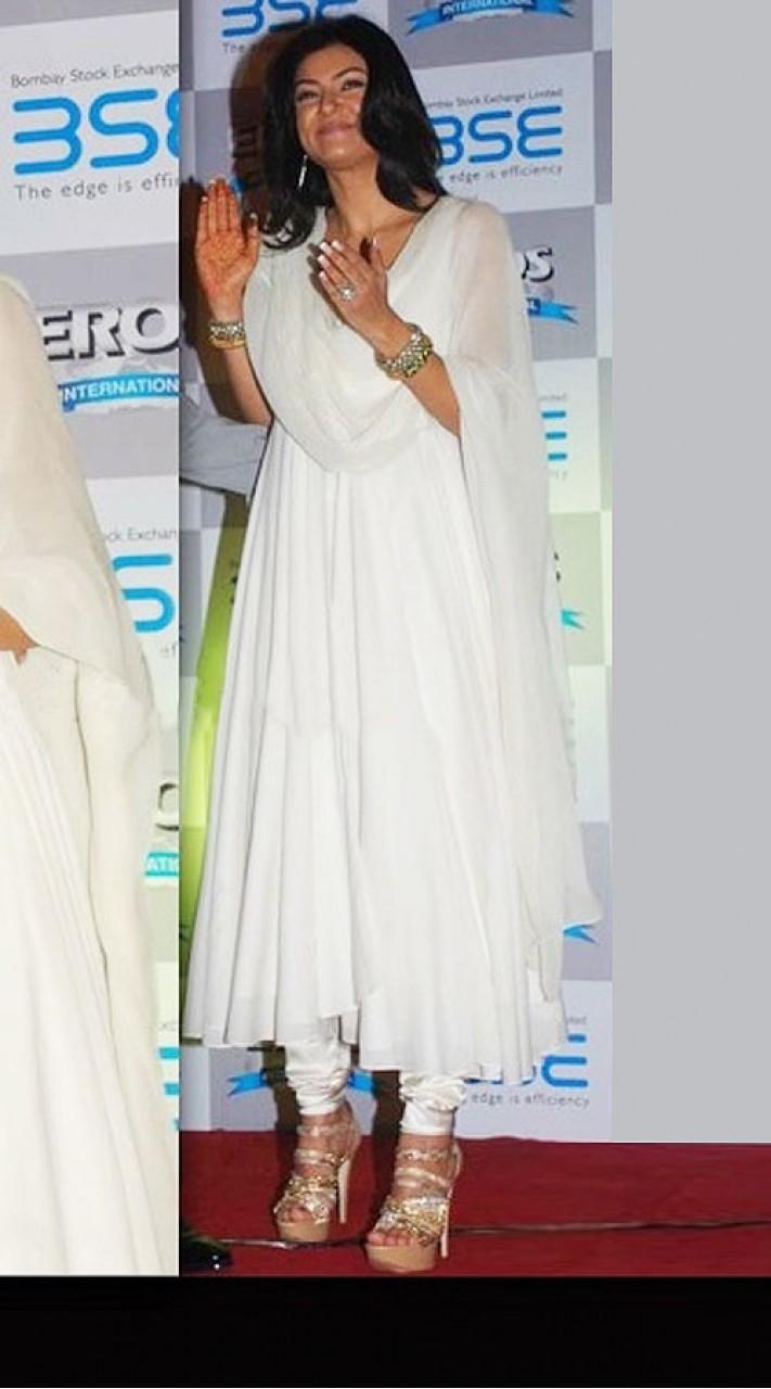 ba160e4673 Fabulous Plain White Sushmita Sen Bollywood Anarkali Suit BP0619
