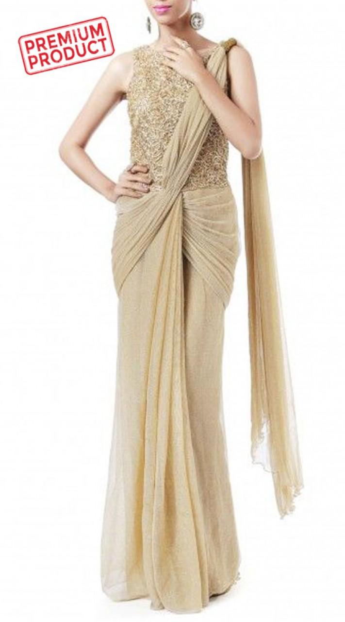 Fashionable Beige Net Designer Saree Gown BP0346