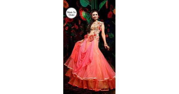 b8bf56735e Pink Net Divyanka Tripathi Designer Wedding Gown BP2408