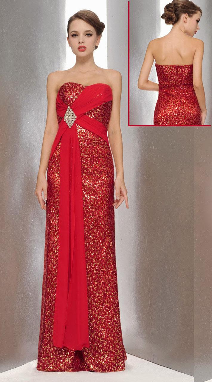 Red Satin Stone Work Designer Prom Dress 3FD4062145