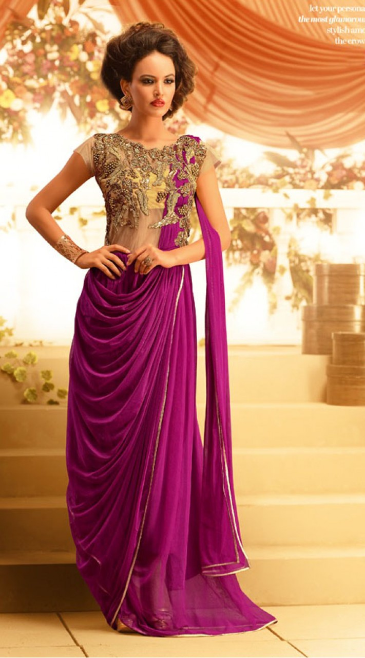 Yoke Embroidered Purple Net Indowestern Gown Br105091